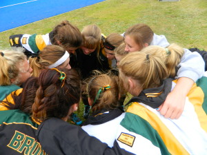 Girls huddle